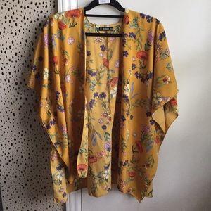 Gorgeous mustard yellow floral kimono